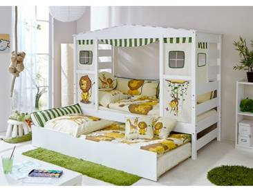 Bett Safari mit Vorhang und Ausziehbett, 90 x 200 cm