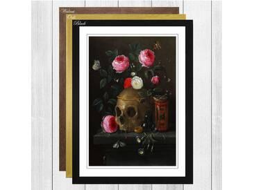 Skull and Flowers by Jan van Kessel Framed Painting Print