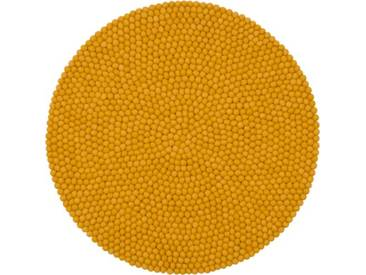 Handgefertigter Teppich Klara aus Schaffell in Senfgelb