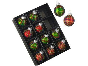 Weihnachtsbaumkugel-Set Schottenmuster