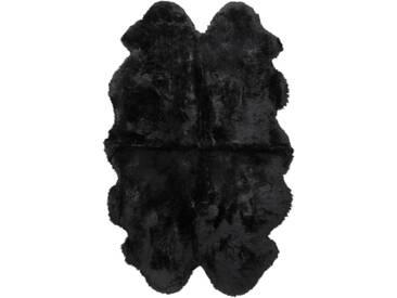 Teppich Hatem Quadruple aus Schaffell und Wolle in Schwarz