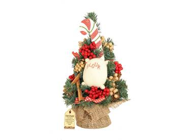Gingerbread Kisses 1ft Green Artificial Christmas Tree with Stand