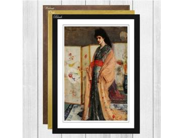 Gerahmtes Poster Lady in a Kimono von James Abbott McNeill Whistler