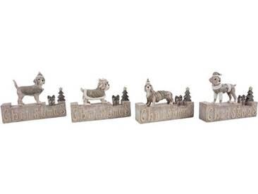 4-tlg. Dekorationsfiguren-Set Christmas Dogs