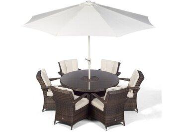 6-Sitzer Gartengarnitur Karas mit Polster und Sonnenschirm