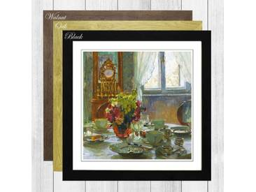 "Gerahmtes Poster ""The Breakfast Table"" von Carl Moll, Kunstdruck"