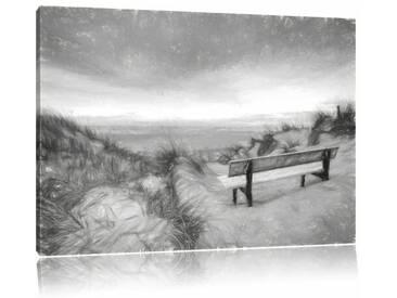 Leinwandbild Bank in den Dünen mit Blick auf das Meer, Grafikdruck in Schwarz/Weiß