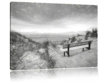 """Leinwandbild """"Bank in den Dünen mit Blick auf das Meer"""", Grafikdruck in Schwarz/Weiß"""