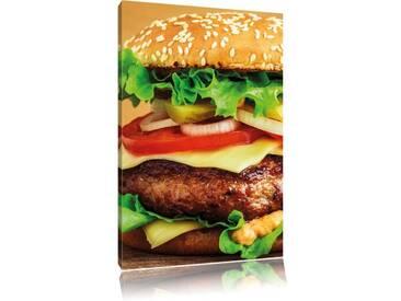 Leinwandbild Hamburger Mc Donalds Cheesburger Burger Essen Fleisch, Fotodruck