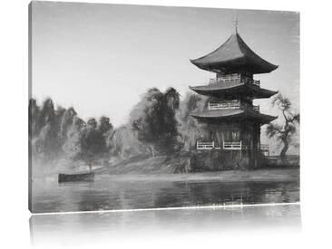 Leinwandbild Prachtvoller asiatischer Tempel am See