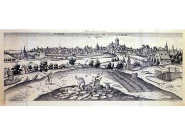 Leinwandbild A Slate Quarry in Angers 1561, Kunstdruck von Joris Hoefnagel