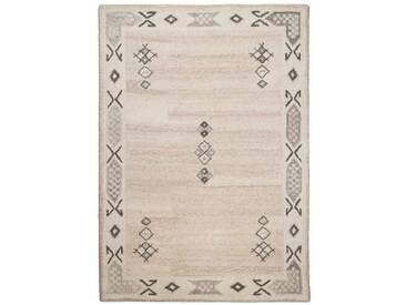 Handgefertigter Teppich Royal Berber aus Wolle in Beige