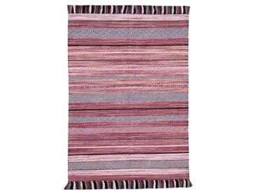Handgefertigter Kelim-Teppich aus Baumwolle in Rosa