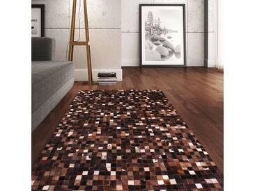 Handgefertigter Teppich Pandora aus Kuhfell in Braun