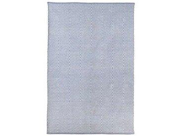 Handgewebter Baumwollteppich Gouldin in Graublau/Weiß