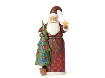 Dekorationsfigur Weihnachtsmann mit Baum
