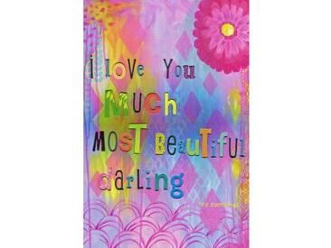 """Leinwandbild """"Love You Much"""" von Jill Lambert, Typografische Kunst"""