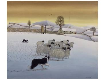 Gerahmter Kunstdruck The Fells in Winter 1984 von Larry Smart