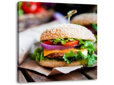 LeinwandbildLeckerer Burger und Pommes