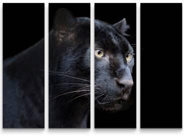 4-tlg.Leinwandbilder-SetSchwarzer Panther auf schwarzem Hintergrund