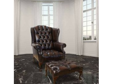 Ohrensessel Chesterfield mit Hocker
