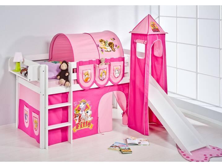 Halbhochbett Filly mit Textil-Set, 90cm x 190cm Pink/Rosa
