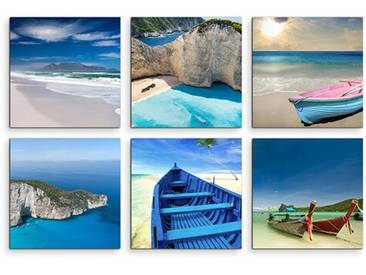 6-tlg. Leinwandbilder-Set Brandung Wasser Strand Meer Urlaub Paradies