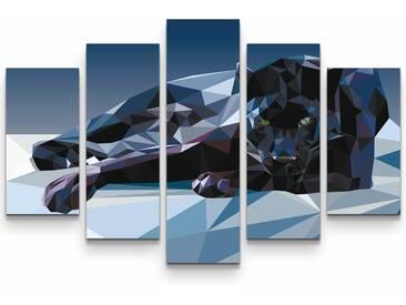 5-tlg.Leinwandbilder-SetGeometrischer Panther