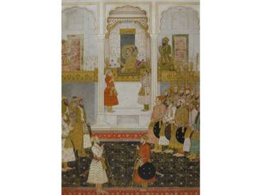 Poster Prince Aurangzeb Reports to Shah Jahan in Durbar at Lahore in 1649, Kunstdruck