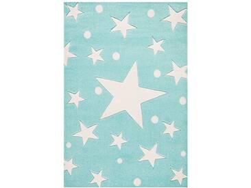 Teppich Star in Türkis/Weiß