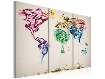 3-tlg. Leinwandbilder-Set Weltkarte aus farbigen Rauchfahnen