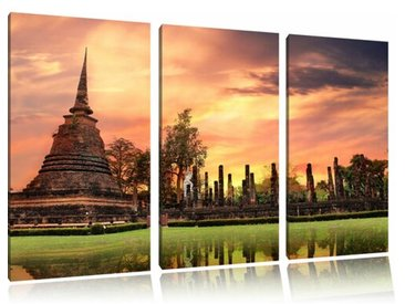 "3-tlg. Leinwandbilder-Set ""Buddha Tempel im Sonnenuntergang"", Fotodruck"