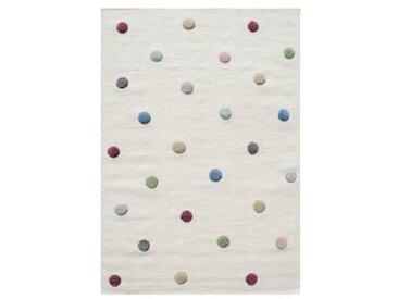 Handgefertigter Kinderteppich Colordots aus Wolle in Creme