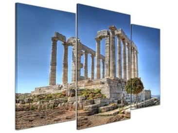 3-tlg. Leinwandbilder-Set Kap Sounion, Fotodruck