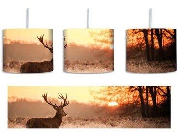 Trommel-Pendelleuchte 1-flammig Hirsch im Sonnenuntergang