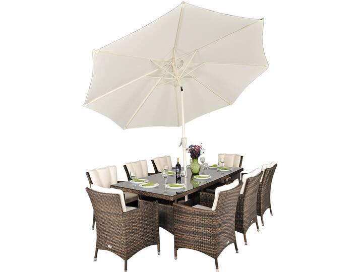 8-Sitzer Gartengarnitur Harold mit Sonnenschirm...