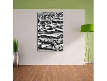 Leinwandbild Hamburger Mc Donalds Cheeseburger Burger Essen Fleisch in Monochrom