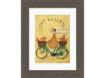 Gerahmtes Poster Cat Baskets von Sam Toft