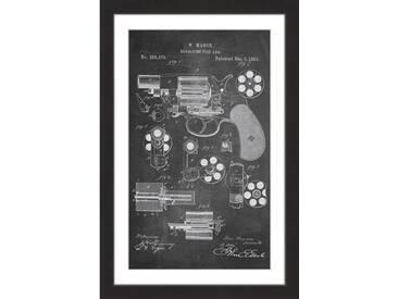 "Gerahmtes Poster ""Revolver 1881 Chalk"" von Steve King, Grafikdruck"