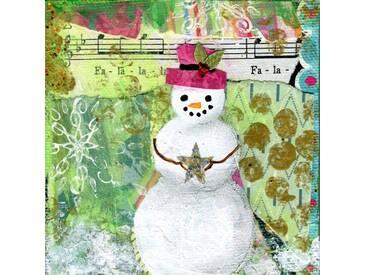 """Leinwandbild """"Fa La La Snowman"""" von Jill Lambert, Grafikdruck"""