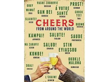Cheers Around the World Grafikdruck auf Metall