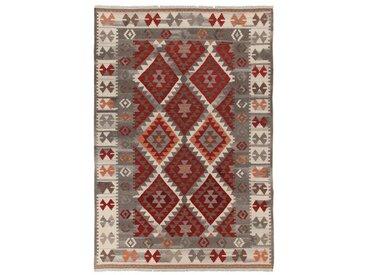 Handgefertigter Kelim-Teppich Zagros aus Wolle/Baumwolle in Rot/Grau