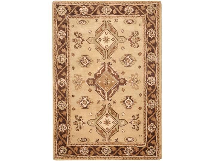 Handgefertigter Teppich Classic aus Wolle in Beige