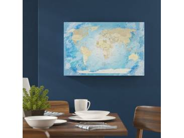 Leinwandbild World Map Frozen - Deutsch, Grafikdruck in Blau