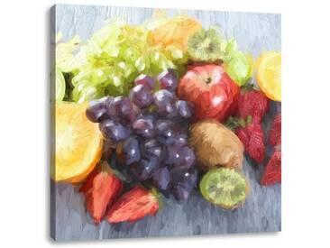 LeinwandbildFrische Obstvielfalt auf Tisch