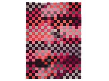 Handgetufteter Teppich Pixel in Rosa/Schwarz