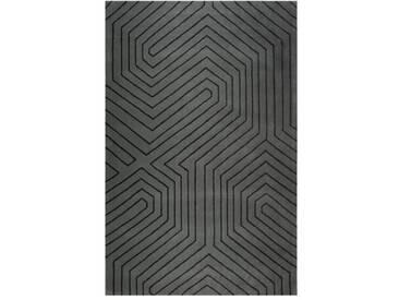 Handgefertigter Teppich Raban aus Wolle in Grau