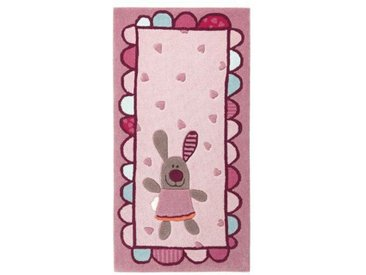 Handgefertigter Kinderteppich 3 Happy Friends Hearts in Pink/ Rosa