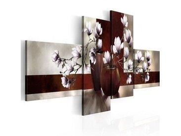 4-tlg. Leinwandbilder-Set Magnolien in einer Vase