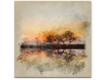 Leinwandbild Aquarellbild Herbstlandschaft